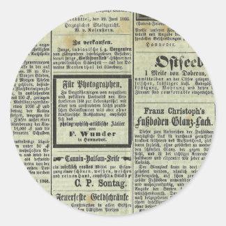 Pegatina alemán del periódico del vintage