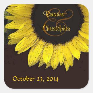 Pegatina amarillo alegre del boda del girasol