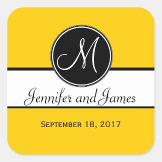 Pegatina amarillo blanco negro del favor del boda