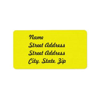 Pegatina amarillo brillante de la dirección etiqueta de dirección