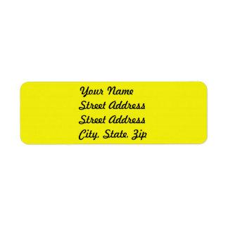 Pegatina amarillo brillante del remite etiqueta de remite