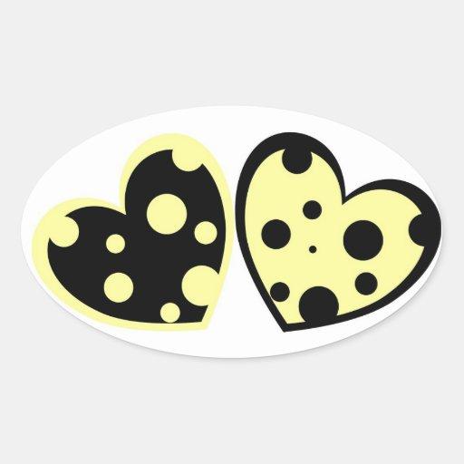 Pegatina amarillo claro y negro de los corazones