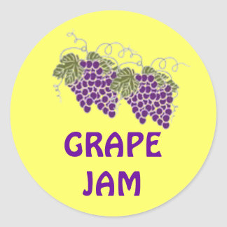 Pegatina amarillo con las uvas de las púrpuras que
