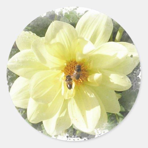 Pegatina amarillo de la flor y de la abeja