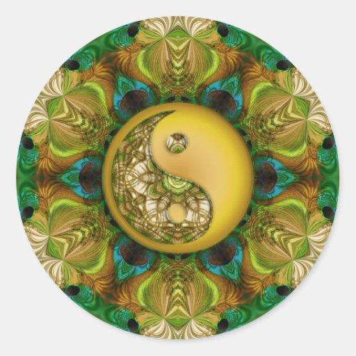 Pegatina amarillo de la mandala de YinYang
