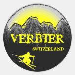 Pegatina amarillo de las montañas del esquiador de
