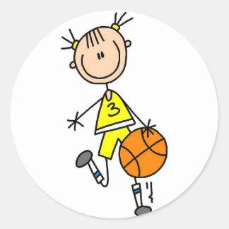 Pegatina amarillo del baloncesto del jersey del