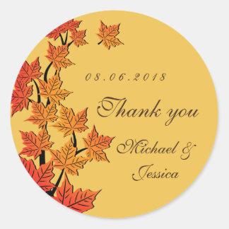 Pegatina amarillo del boda del otoño de la caída