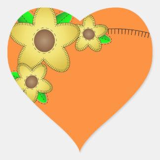 Pegatina amarillo del corazón del fondo de la flor