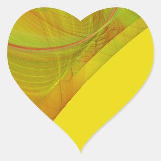 Pegatina amarillo del corazón del fondo del
