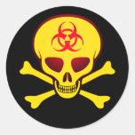 Pegatina amarillo del cráneo del Biohazard