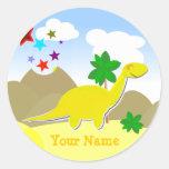 Pegatina amarillo del nombre del dinosaurio del