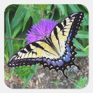 Pegatina amarillo del regalo de la mariposa de