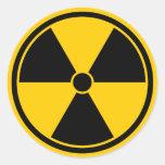 Pegatina amarillo del símbolo de la radiación de