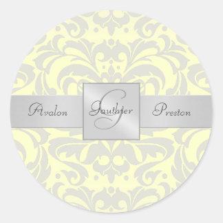 Pegatina amarillo elegante del boda del monograma
