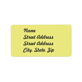 Pegatina amarillo en colores pastel ligero de la etiquetas de dirección