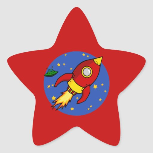 Pegatina amarillo rojo de la estrella de Rocket