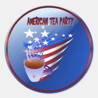 Pegatina americano de la fiesta del té