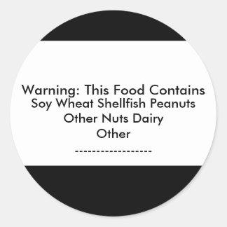 Pegatina amonestador de la alergia alimentaria