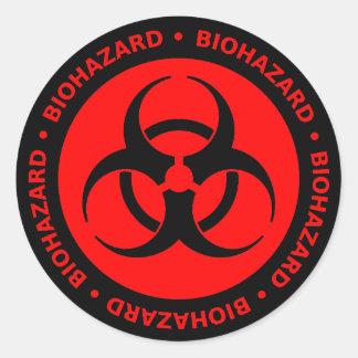 Pegatina amonestador del Biohazard rojo