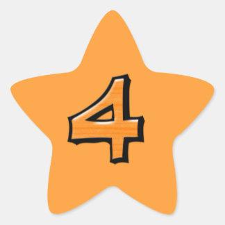 Pegatina anaranjado de la estrella del número 4