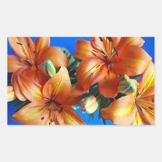 Pegatina anaranjado de la impresión floral del