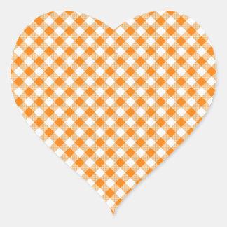 Pegatina anaranjado del corazón del fondo de la