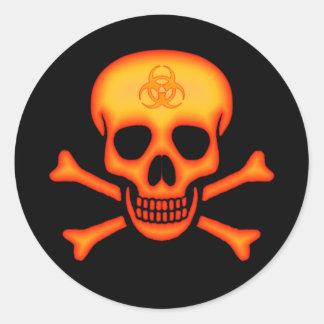 Pegatina anaranjado del cráneo del Biohazard