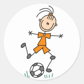 Pegatina anaranjado del fútbol de los chicas