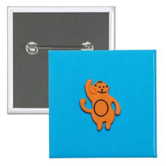 Pegatina anaranjado del mono pin cuadrada 5 cm