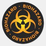 Pegatina anaranjado del símbolo del Biohazard