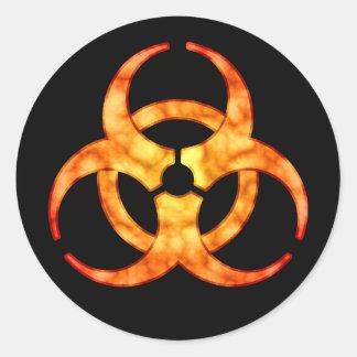 Pegatina anaranjado del símbolo del Biohazard de
