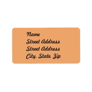 Pegatina anaranjado   en colores pastel de la etiqueta de dirección