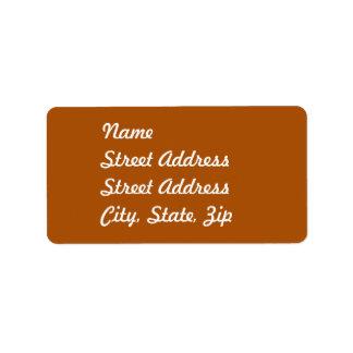 Pegatina anaranjado quemado de la dirección etiquetas de dirección
