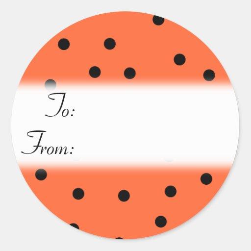 Pegatina anaranjado y negro de la etiqueta del