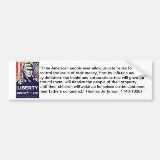 Pegatina anti de Federal Reserve de la libertad Etiqueta De Parachoque