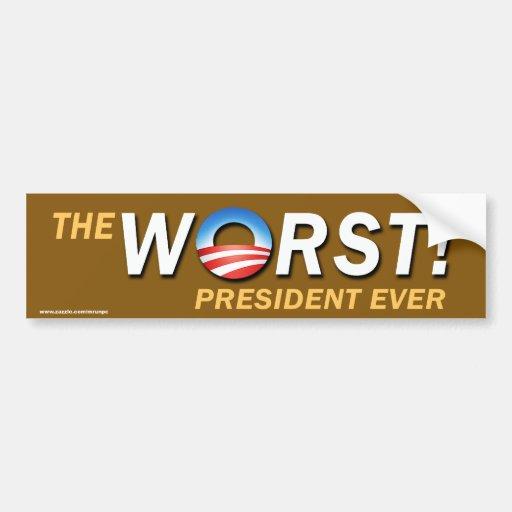"""pegatina anti presidente Ever de """"peor"""" de Obama Pegatina De Parachoque"""