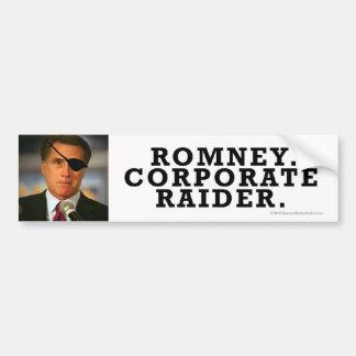 ¡Pegatina Anti-Romney Raiderrrrr corporativo! Etiqueta De Parachoque