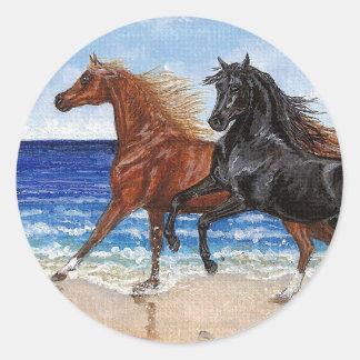 Pegatina árabe del caballo de la playa del galope