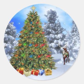 Pegatina/árbol de navidad redondos clásicos del pegatina redonda