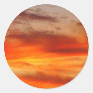 Pegatina ardiente de la puesta del sol