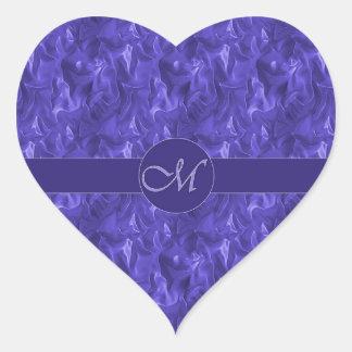 Pegatina arrugado púrpura del satén del monograma