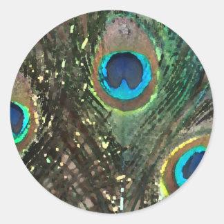 Pegatina artístico de la pluma del pavo real