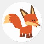 Pegatina astuto lindo del Fox del dibujo animado