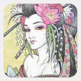 Pegatina atractivo del geisha