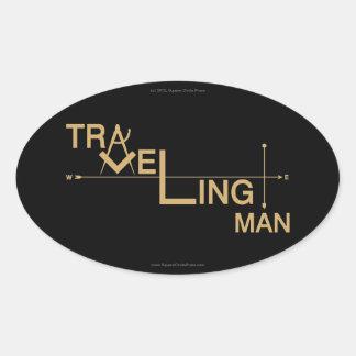Pegatina auto oval del hombre que viaja