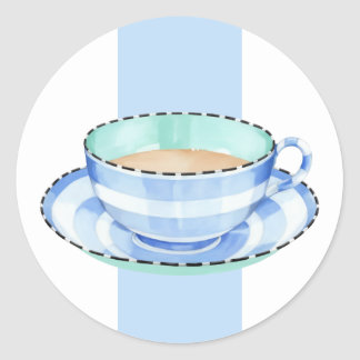 Pegatina azul blanco de la taza de té blanca azul
