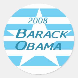 Pegatina azul, blanco de Obama de la estrella