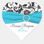 Pegatina azul, blanco, y negro del boda del damasc