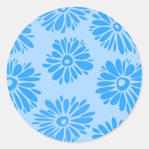 Pegatina azul claro de las flores